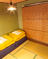 Twin Japanese tatami room with futon bedding
